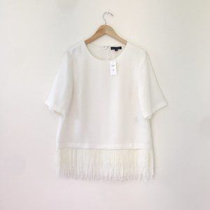 NEW Banana Republic White Fringe Top Size Medium